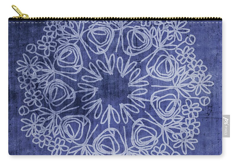 Indigo Carry-all Pouch featuring the mixed media Indigo Mandala 1- Art By Linda Woods by Linda Woods