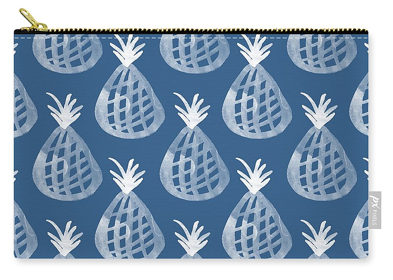Indigo Carry-all Pouch featuring the mixed media Indigo Pineapple Party by Linda Woods