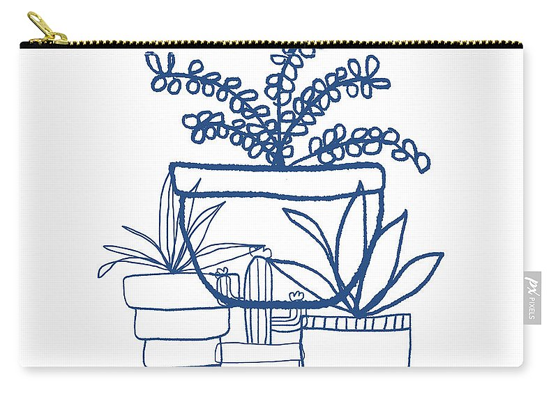 Succulents Carry-all Pouch featuring the mixed media Indigo Potted Succulents- Art By Linda Woods by Linda Woods