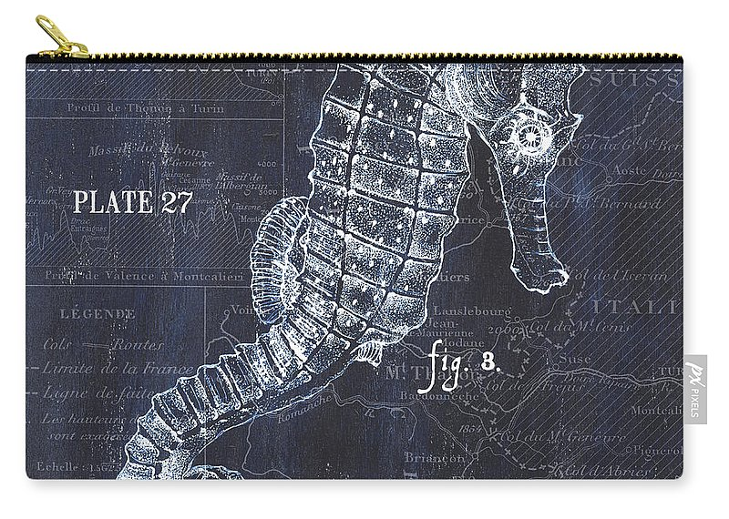 Seahorse Carry-all Pouch featuring the painting Indigo Verde Mar 1 by Debbie DeWitt