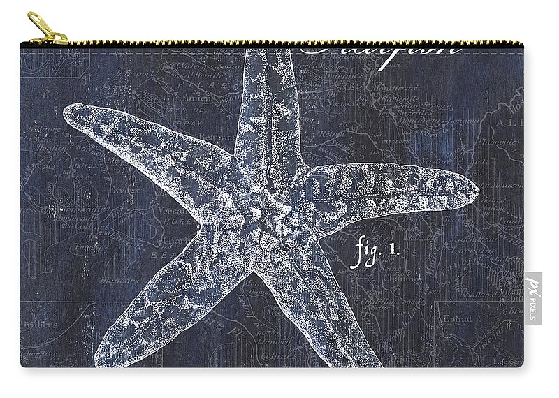 Starfish Carry-all Pouch featuring the painting Indigo Verde Mar 4 by Debbie DeWitt