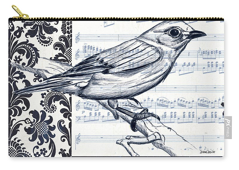Bird Carry-all Pouch featuring the painting Indigo Vintage Songbird 1 by Debbie DeWitt