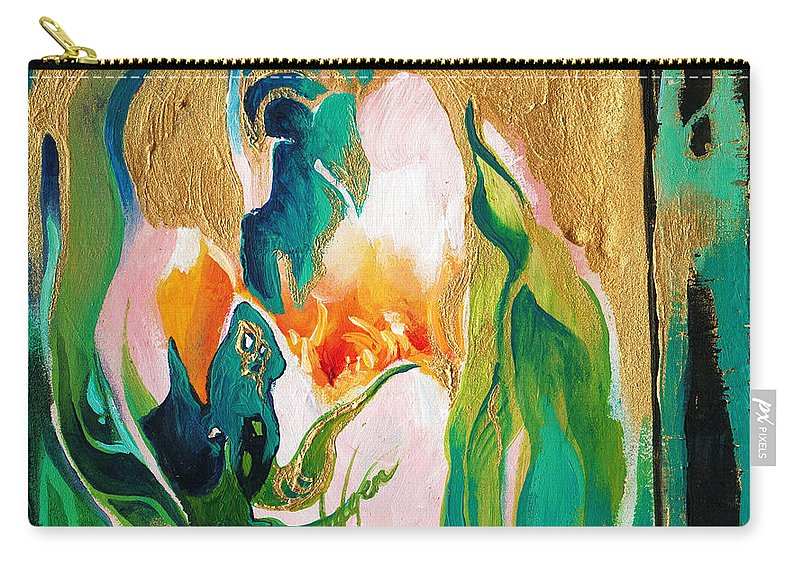 Lin Petershagen Carry-all Pouch featuring the painting Indigold by Lin Petershagen