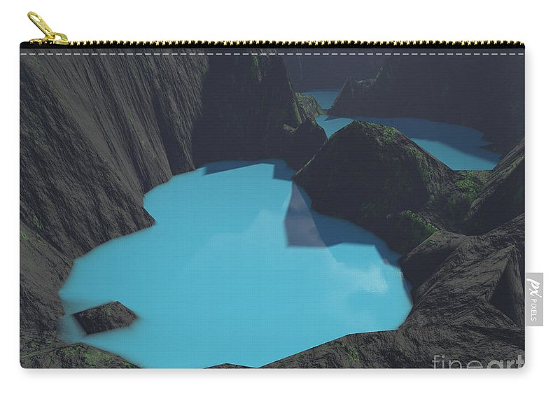 Basalt Carry-all Pouch featuring the digital art Indonesian Crater Lakes by Gaspar Avila