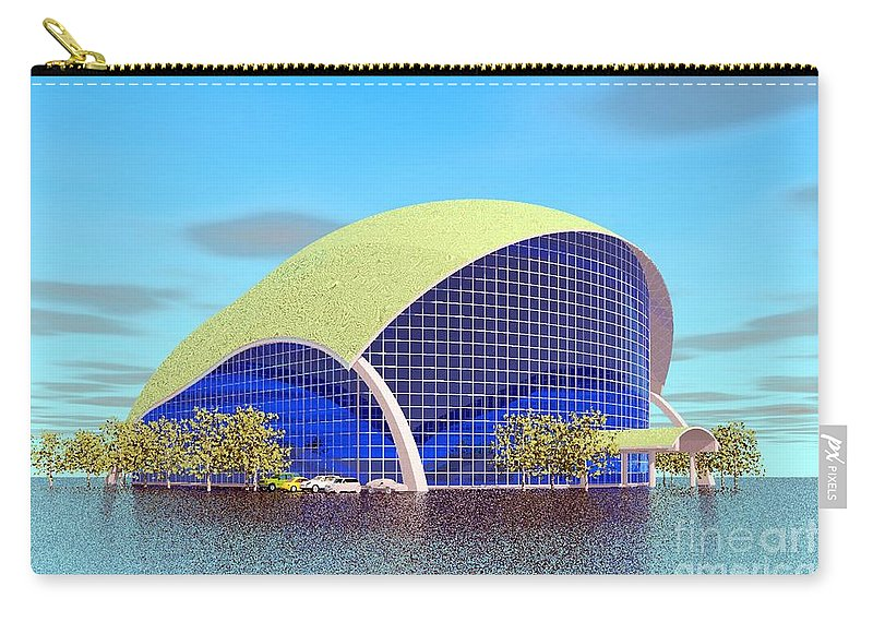 Bulding Rendering Carry-all Pouch featuring the digital art Indoor Tennis by Ron Bissett