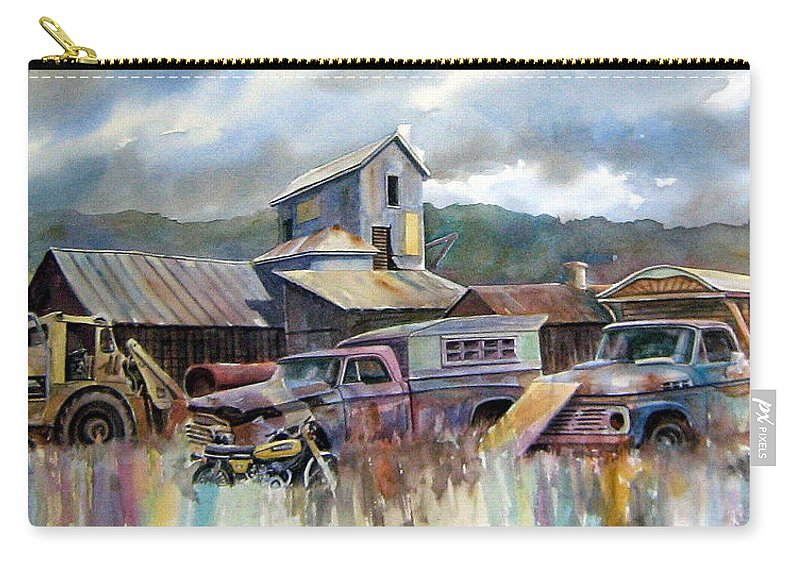 Trucks Carry-all Pouch featuring the painting Industrial Recreation Park by Ron Morrison