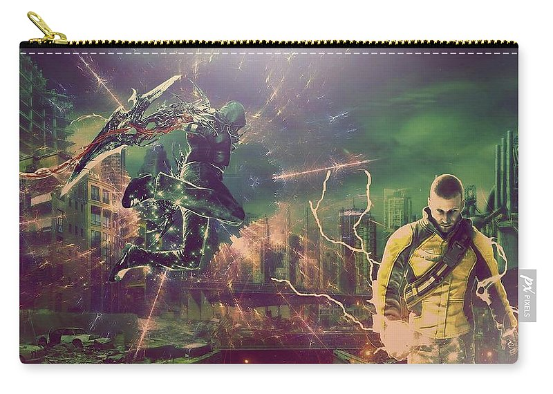 Infamous Carry-all Pouch featuring the digital art inFAMOUS by Maye Loeser