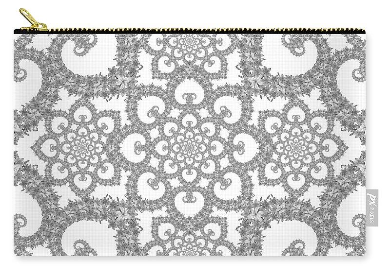 Floral Carry-all Pouch featuring the digital art Infinite Lily In Black And White by Deborah Runham