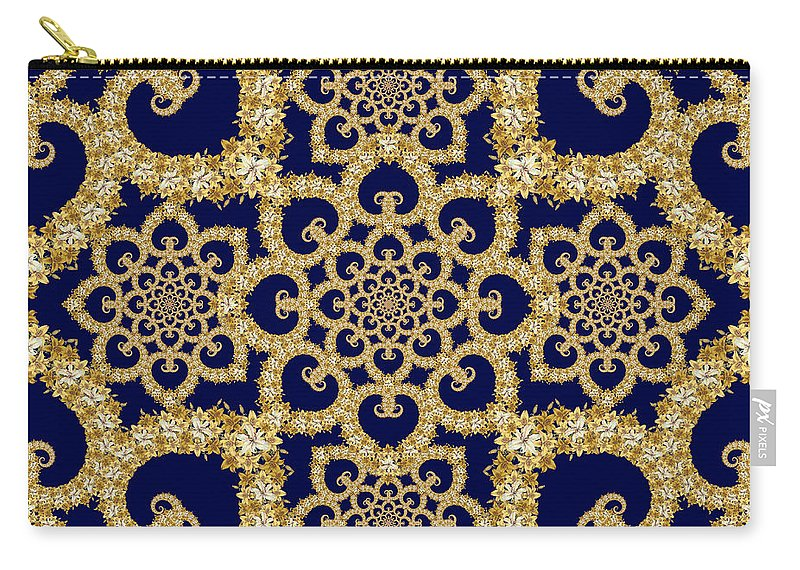 Floral Carry-all Pouch featuring the tapestry - textile Infinite Lily In Navy by Deborah Runham