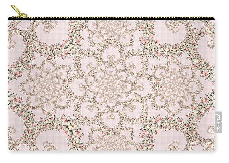 Floral Carry-all Pouch featuring the tapestry - textile Infinite Lily In Pastels by Deborah Runham