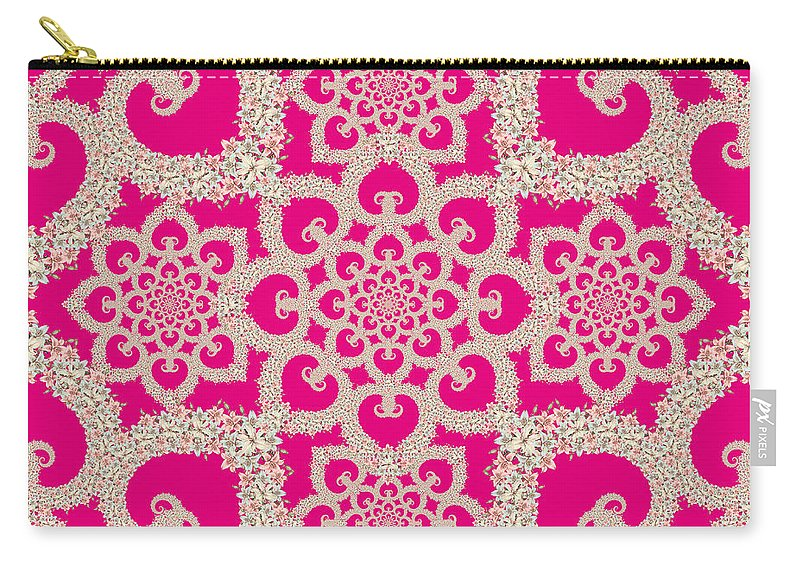 Floral Carry-all Pouch featuring the painting Infinite Lily In Pink by Deborah Runham