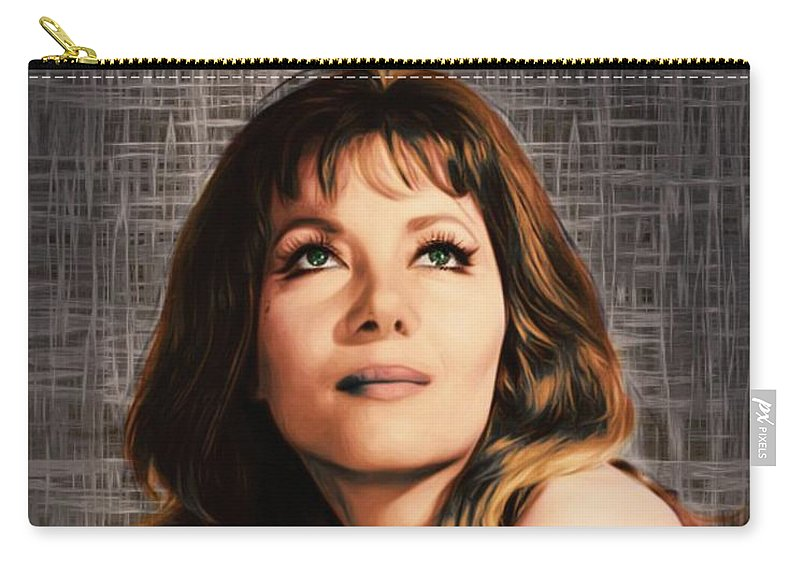 Ingrid Carry-all Pouch featuring the digital art Ingrid Pitt, Vintage Actress by Mary Bassett