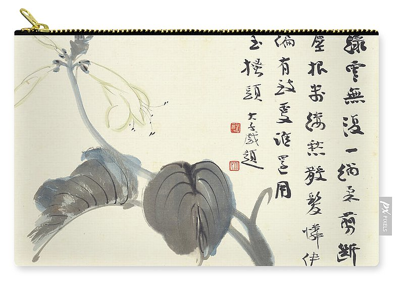 Ink Flowers Carry-all Pouch featuring the painting Ink Flowers by Zhang Daqian