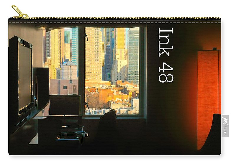 Ink Hotel Carry-all Pouch featuring the photograph My Hotel Room Ink48 by Diana Angstadt