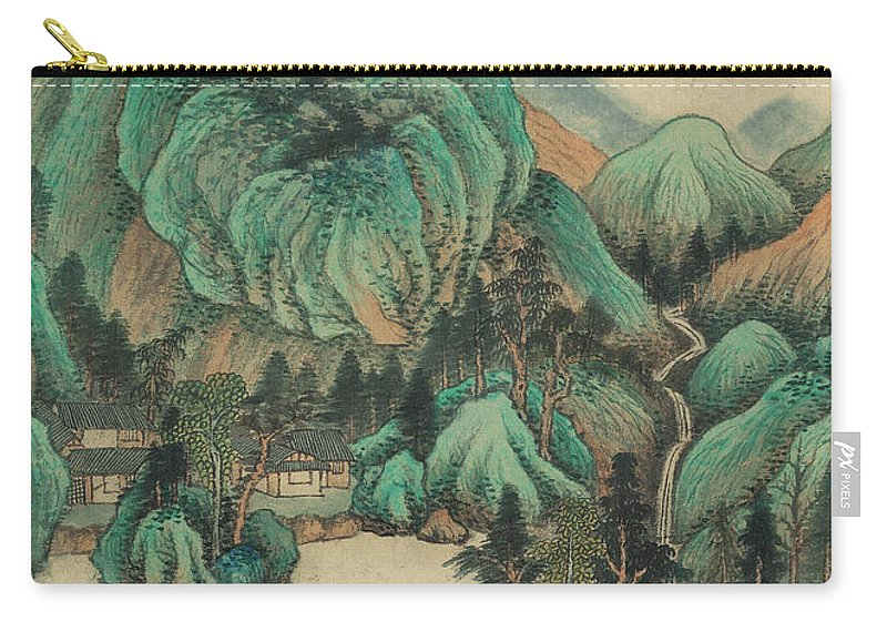 Ink Painting Carry-all Pouch featuring the painting Ink Painting Mountain Thatched Cottage by Wang Jian