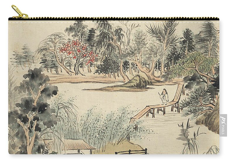 Ink Painting Carry-all Pouch featuring the painting Ink Painting Mountain Wooden Bridge by Wang Jian