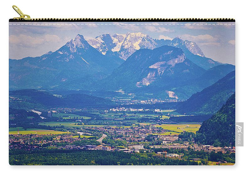 Kaiser Carry-all Pouch featuring the photograph Inn River Valley And Kaiser Mountains View by Brch Photography