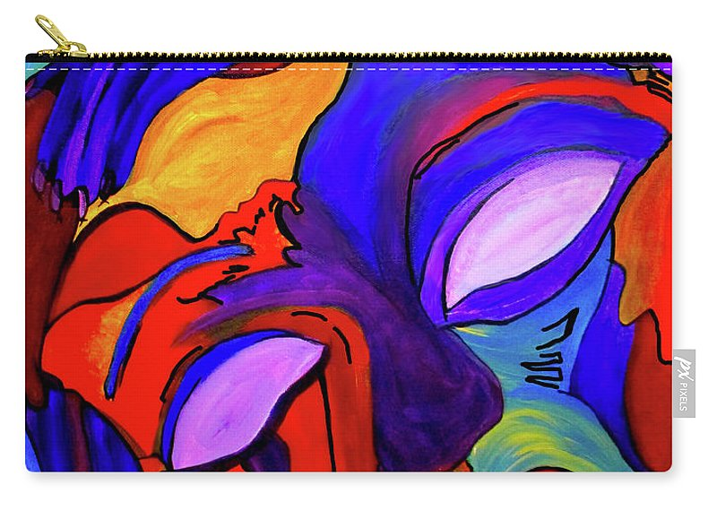 Purple Carry-all Pouch featuring the mixed media Inner Space by Romy Kelly