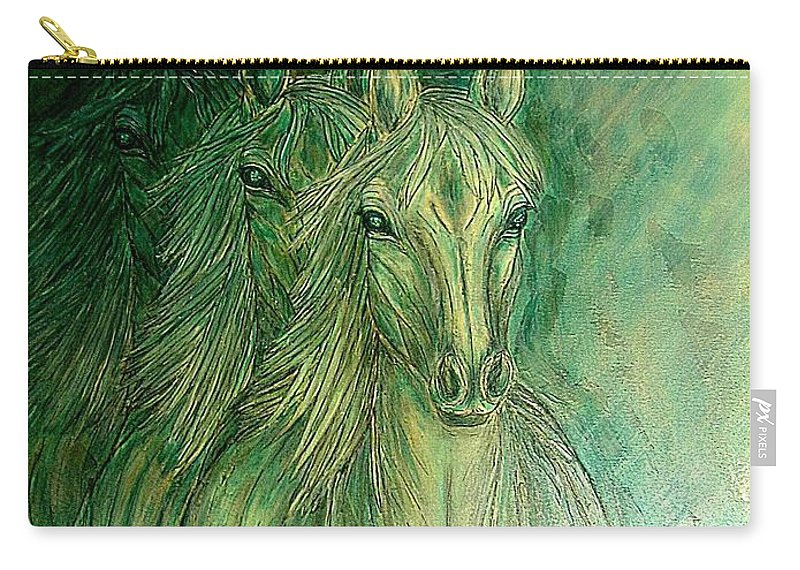 Animals Carry-all Pouch featuring the painting Inner Spirit by Kim Jones