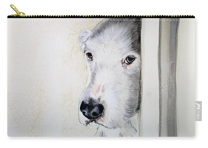 Old English Sheepdog Carry-all Pouch featuring the painting Innocence by Carol Blackhurst