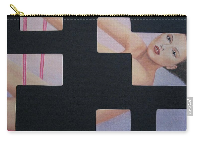 Woman Carry-all Pouch featuring the painting Innocent Flirtation by Lynet McDonald