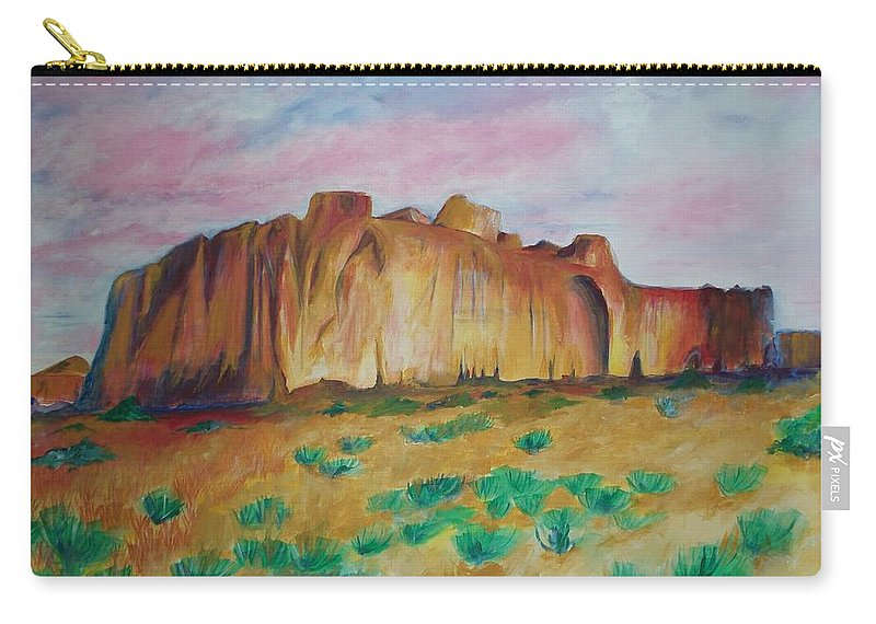 Western Landscapes Carry-all Pouch featuring the painting Inscription Rock by Eric Schiabor