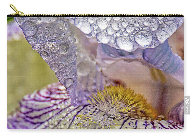 Rain Drops Carry-all Pouch featuring the photograph Inside A Bearded Iris by Geraldine Scull