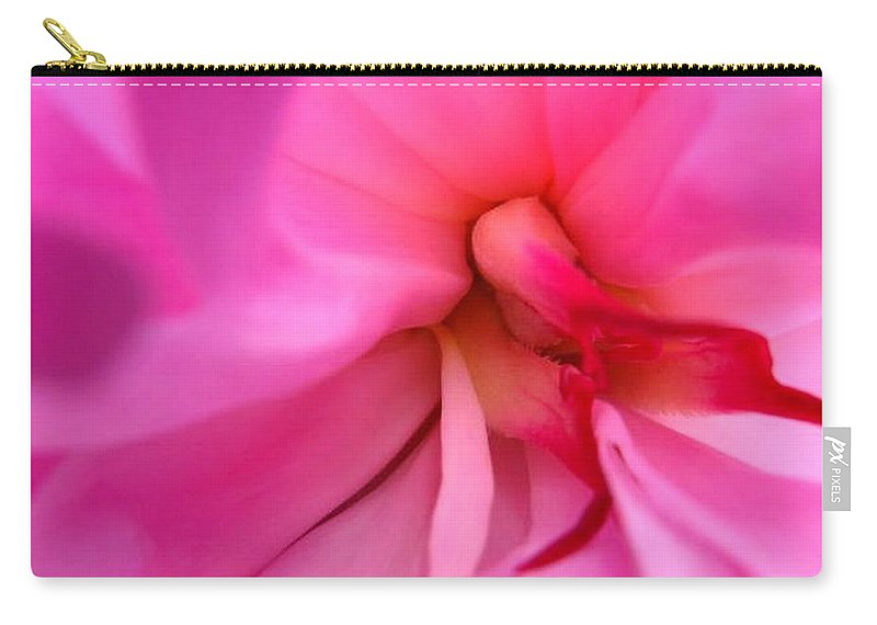 Flower Carry-all Pouch featuring the photograph Inside A Peony by Rhonda Barrett