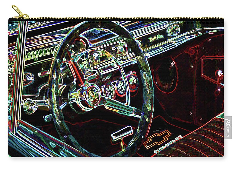 Inside Of A Classic Car Carry-all Pouch featuring the painting Inside Of A Classic Car by Jeelan Clark