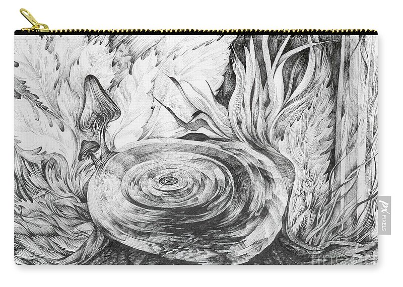 Tree Stump Carry-all Pouch featuring the drawing Inside The Forest by Anna Duyunova