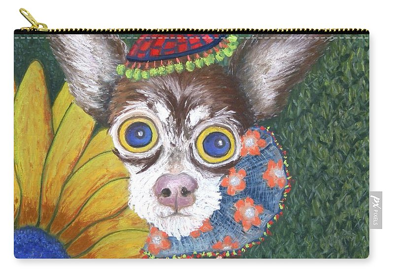 Chihauhau Carry-all Pouch featuring the painting Inside Van Gogh Gardens Sits Sunflower Sally by Minaz Jantz