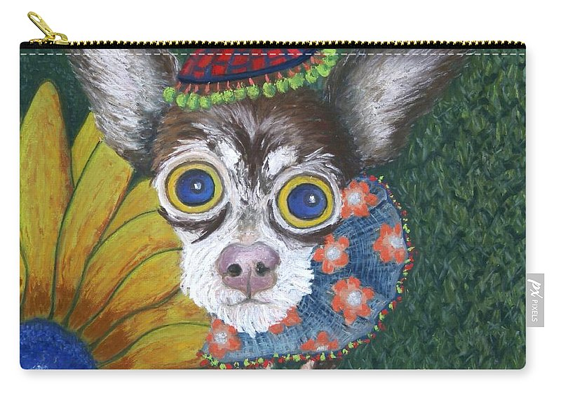 Chihuahua Carry-all Pouch featuring the painting Inside Van Gogh's Garden Sits Sunflower Sally by Minaz Jantz