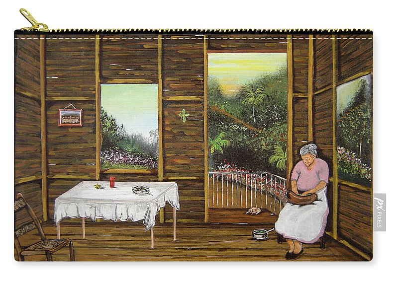 Puerto Rico Wooden Home Carry-all Pouch featuring the painting Inside Wooden Home by Gloria E Barreto-Rodriguez