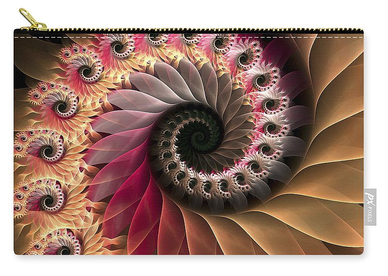 Fractal Carry-all Pouch featuring the digital art Inspiraled by Amorina Ashton