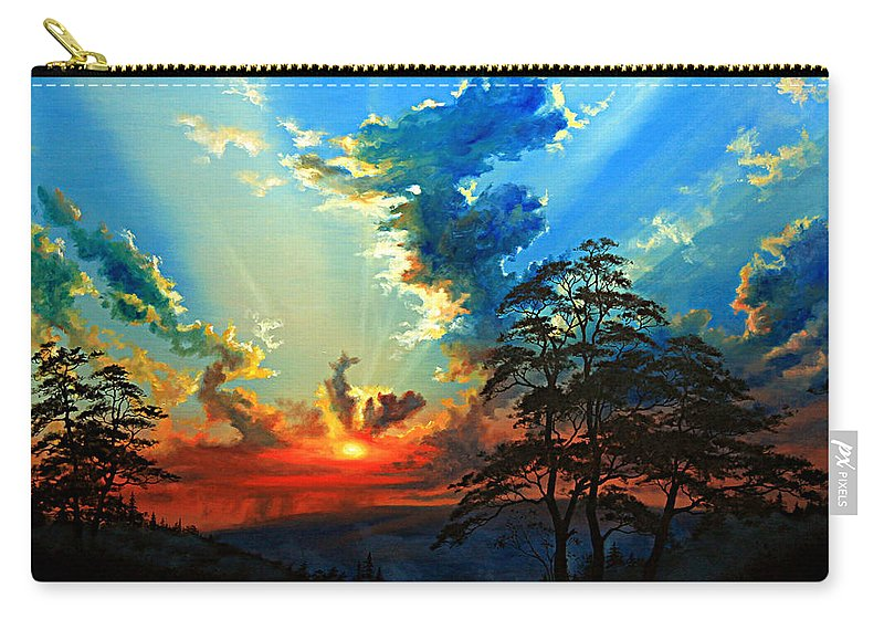 Sunset Carry-all Pouch featuring the painting Inspiration by Hanne Lore Koehler