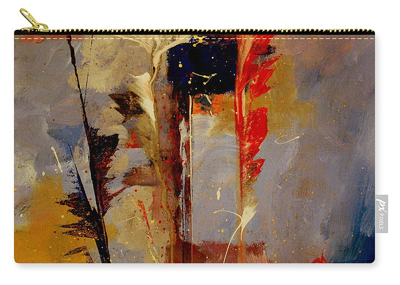 Abstract Botanical Floral Flowers Color Red Pink Blue White Yellow Orange Purple Carry-all Pouch featuring the painting Inspire Me by Ruth Palmer