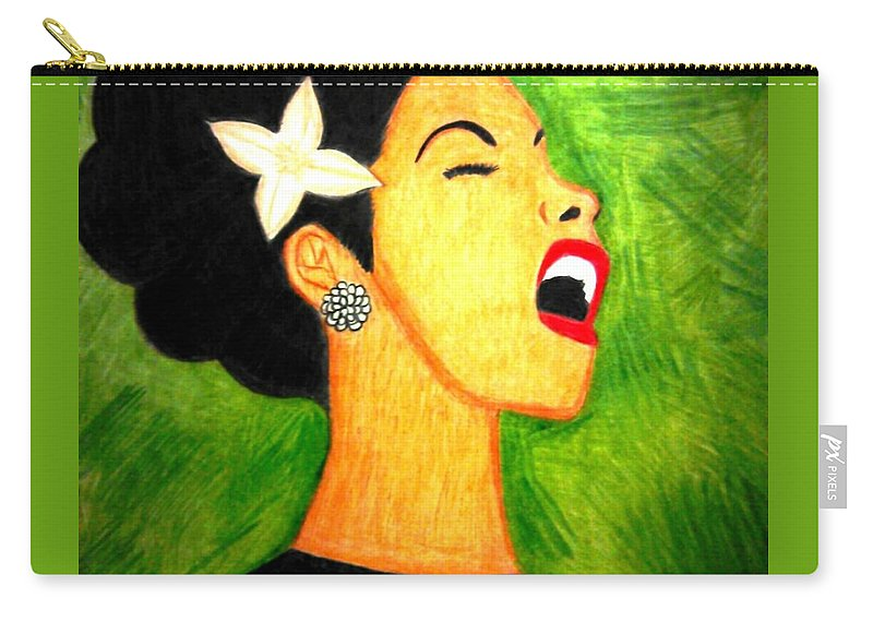 Music Carry-all Pouch featuring the drawing Inspired By Billie by Precious Cannon