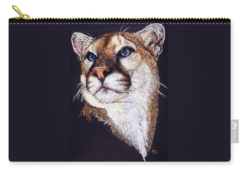 Cougar Carry-all Pouch featuring the drawing Intense by Barbara Keith
