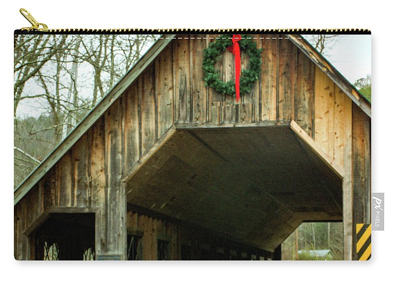 Covered Carry-all Pouch featuring the photograph Interior Of Covered Bridge by Douglas Barnett