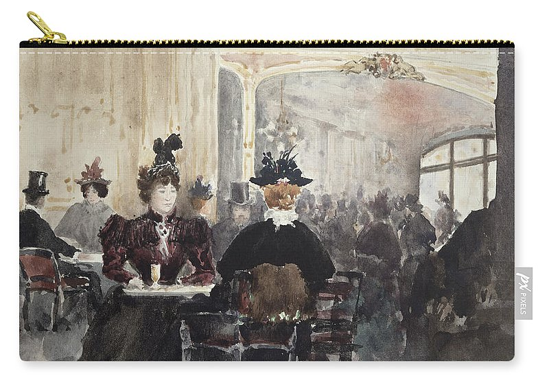 Interior Carry-all Pouch featuring the painting Interior Of The Concert Rouge by Henri Laurent Mouren