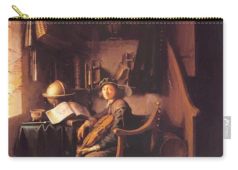 Interior Carry-all Pouch featuring the painting Interior With A Young Violinist 1637 by Dou Gerrit