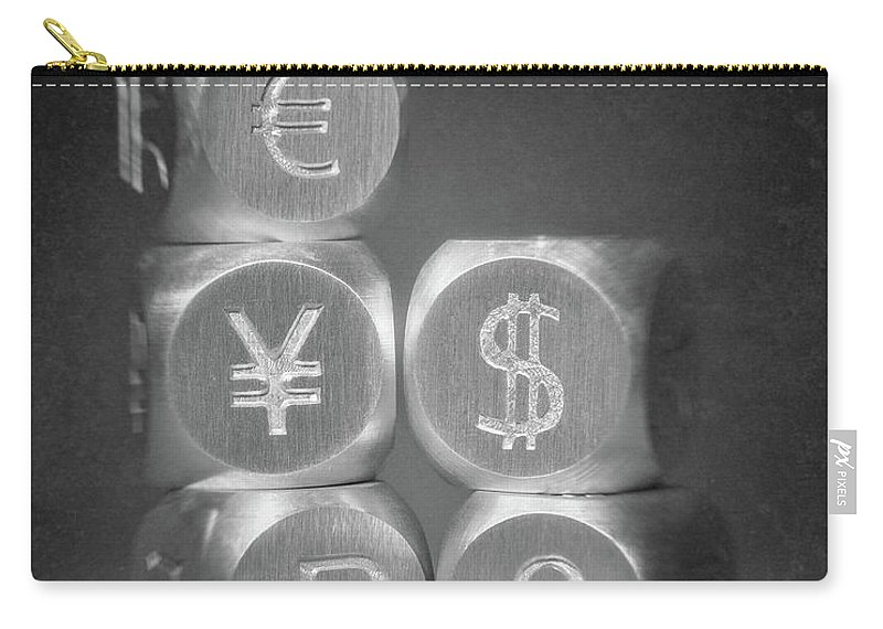 Aluminum Carry-all Pouch featuring the photograph International Currency Symbols by Tom Mc Nemar