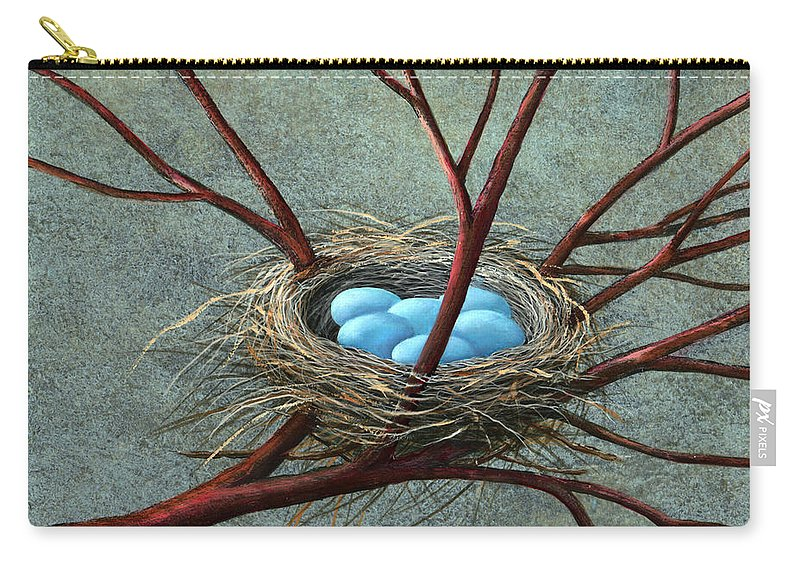 Birds Nest Carry-all Pouch featuring the painting Intertwined by Frank Wilson