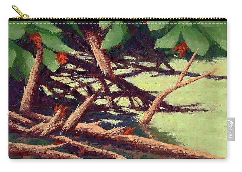 Impressionist Carry-all Pouch featuring the painting Interwoven Worlds by Kenneth Requard