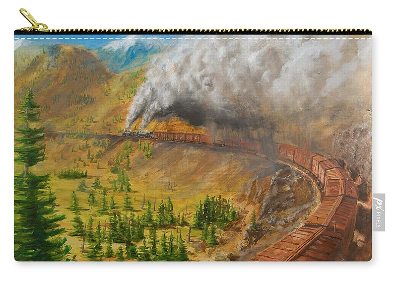 Train Carry-all Pouch featuring the painting Into The Front Range by Christopher Jenkins