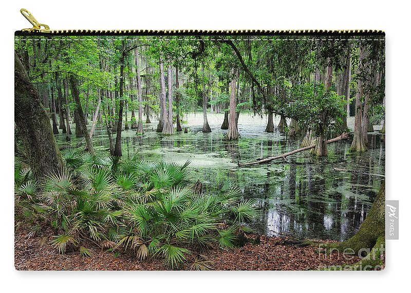 Swamp Carry-all Pouch featuring the photograph Into The Green Swamp by Carol Groenen