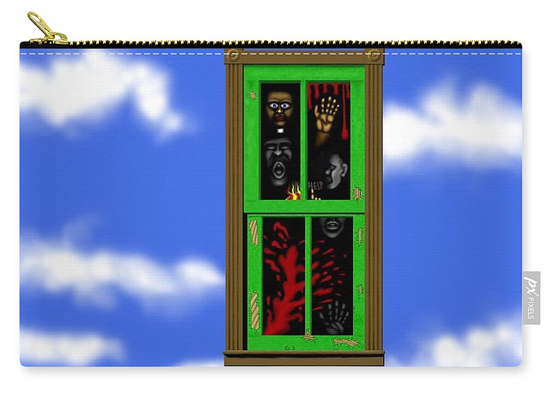 Surrealism Carry-all Pouch featuring the digital art Into The Green Window by Robert Morin