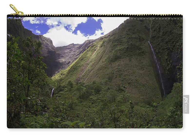 Waterfalls Carry-all Pouch featuring the photograph Into The Heart Of Kauai by Kawai Barrett
