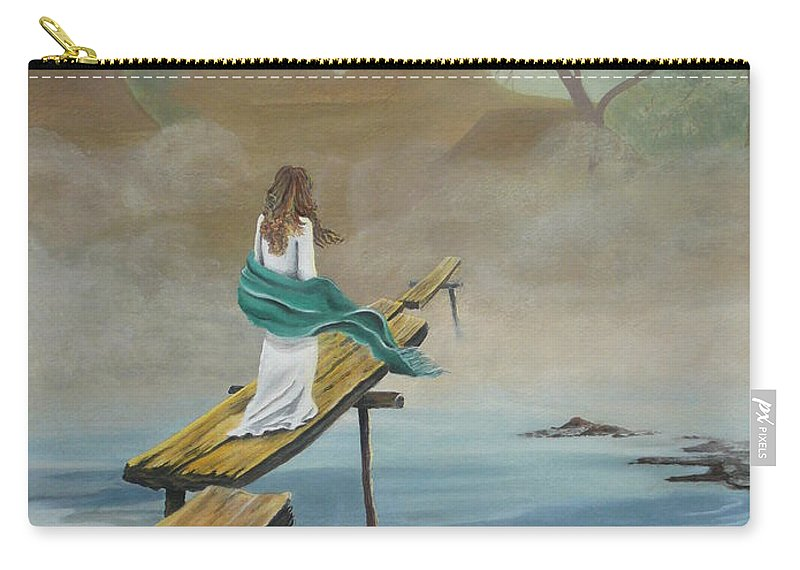 Water Carry-all Pouch featuring the painting Into The Mist by Kris Crollard