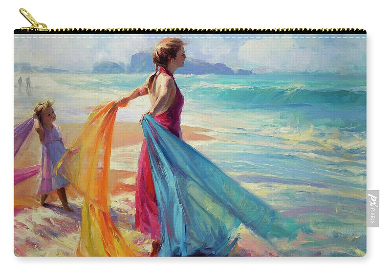 Coast Carry-all Pouch featuring the painting Into The Surf by Steve Henderson